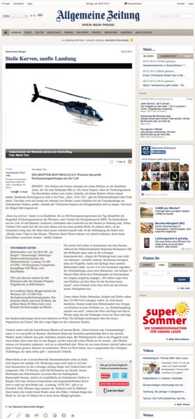 Screenshot des Online-Artikels 'Steile Kurven, sanfte Landung'