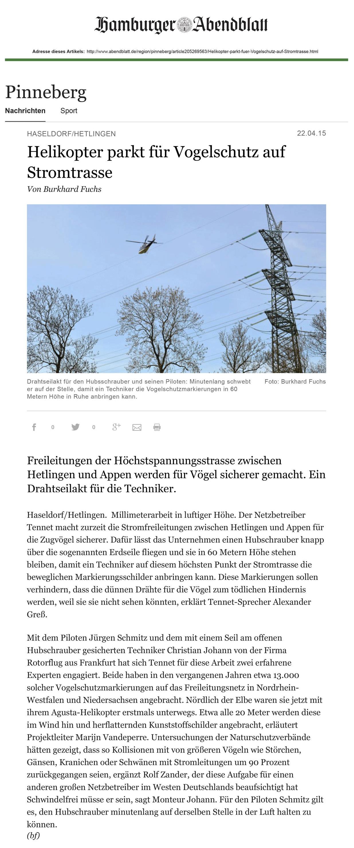 Helikopter parkt für Vogelschutz auf Stromtrasse – Online-Artikel auf www.abendblatt.de