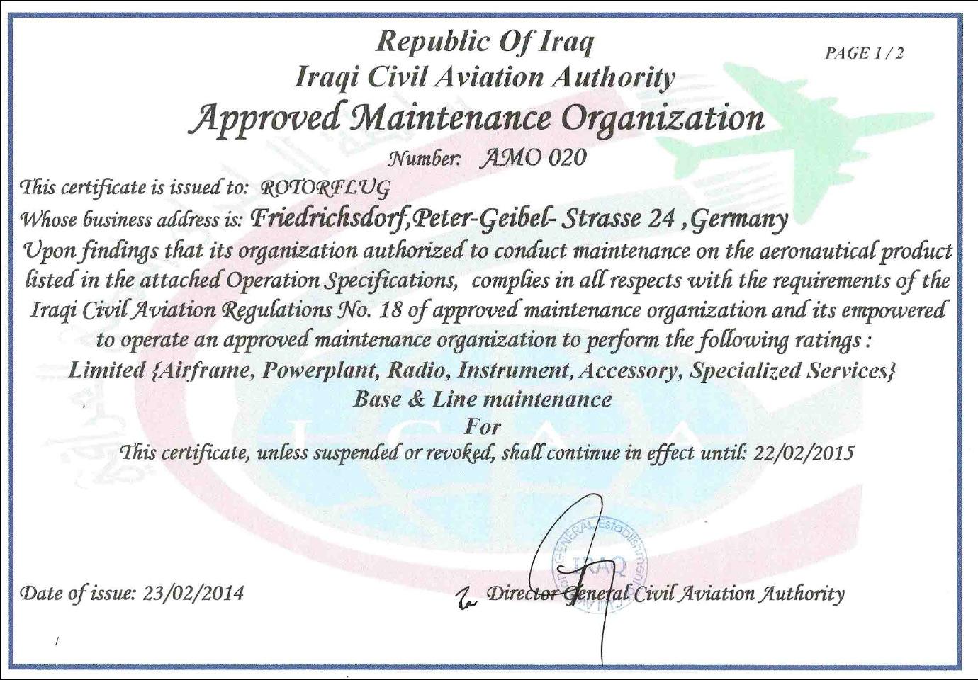 Irakische Instandhaltungslizenz