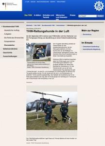 """THW-Rettungshunde in der Luft - Online-Artikel auf www.thw.de Quelle: """"THW"""" Alle Rechte am Bild liegen beim THW."""