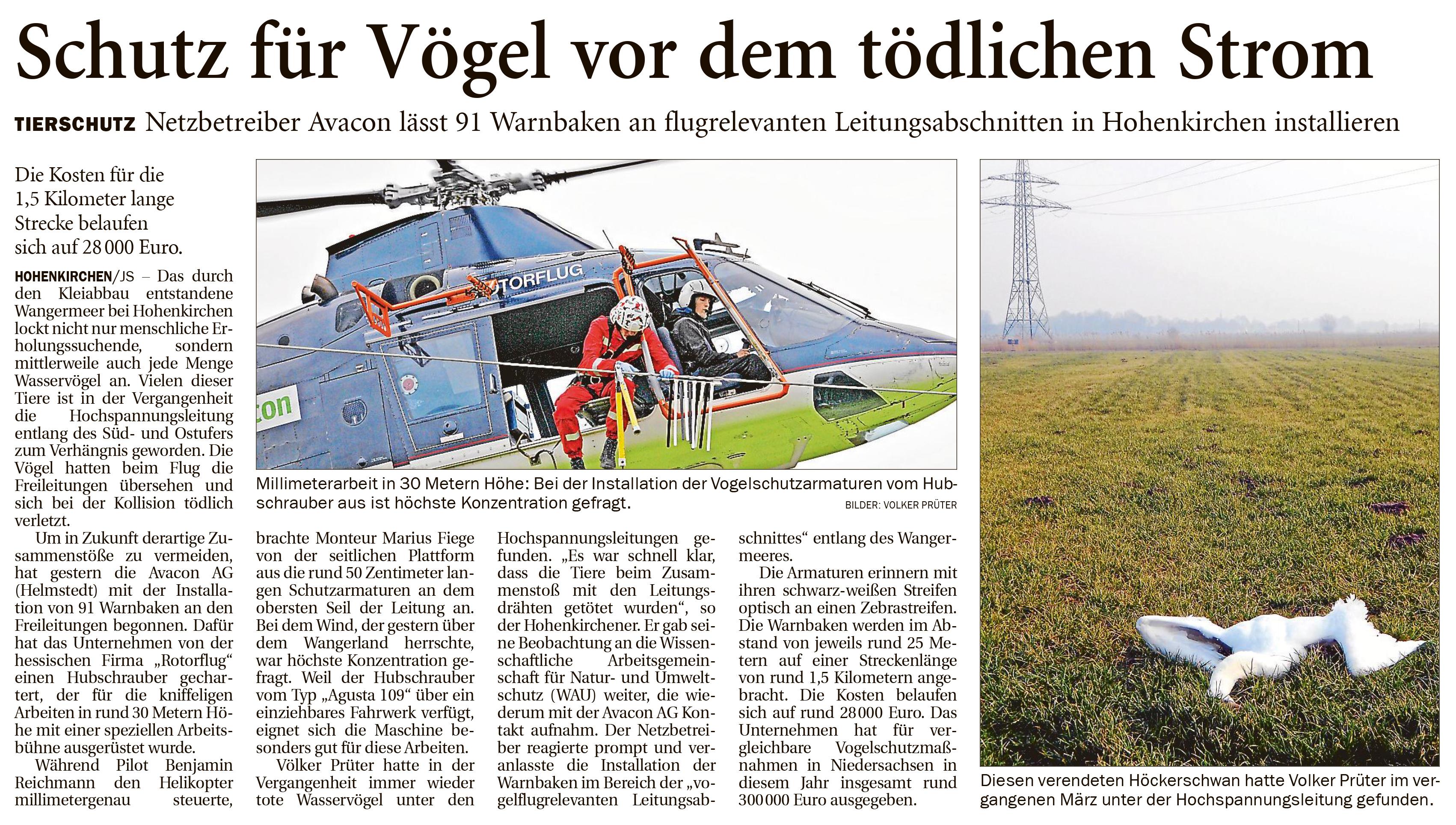 """Screenshot Zeitungsartikel aus """"Ems-Jade"""": Schutz für Vögel vor dem tödlichen Strom"""