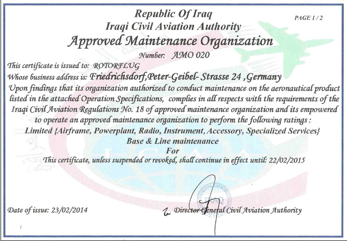 approved maintenance organization in Iraq
